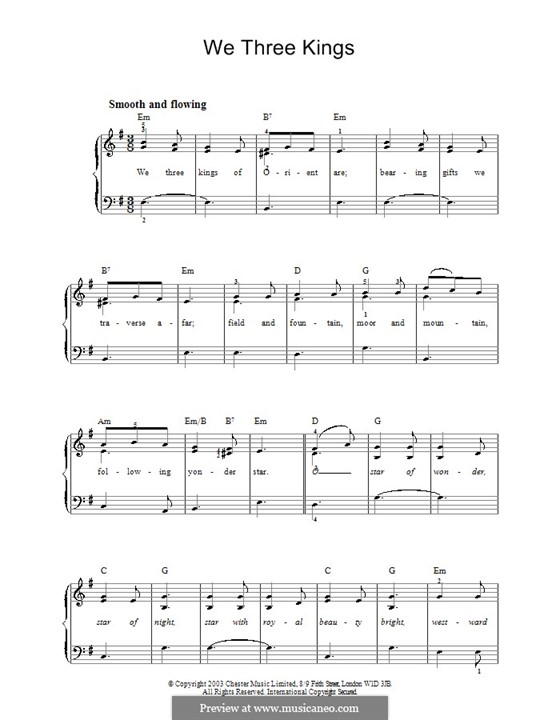 We Three Kings of Orient are, for Piano: Easy version by John H. Hopkins Jr.