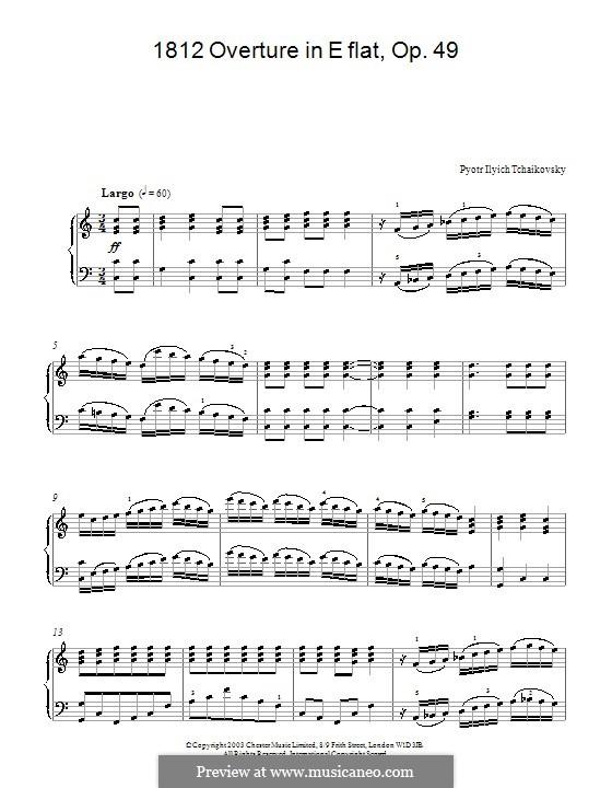 1812. Festliche Ouvertüre, TH 49 Op.49: Bearbeitung für Klavier (Fragment) by Pjotr Tschaikowski