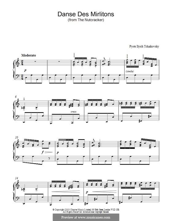 Nr.7 Tanz der Mirlitons: Für Klavier (Noten von hoher Qualität) by Pjotr Tschaikowski