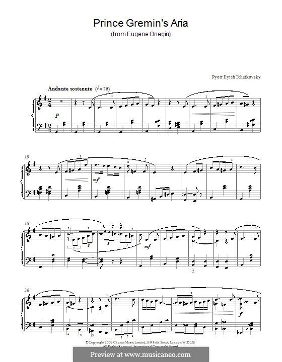 Akt III, Nr.20a  Arie des Gremin: Bearbeitung für Klavier by Pjotr Tschaikowski