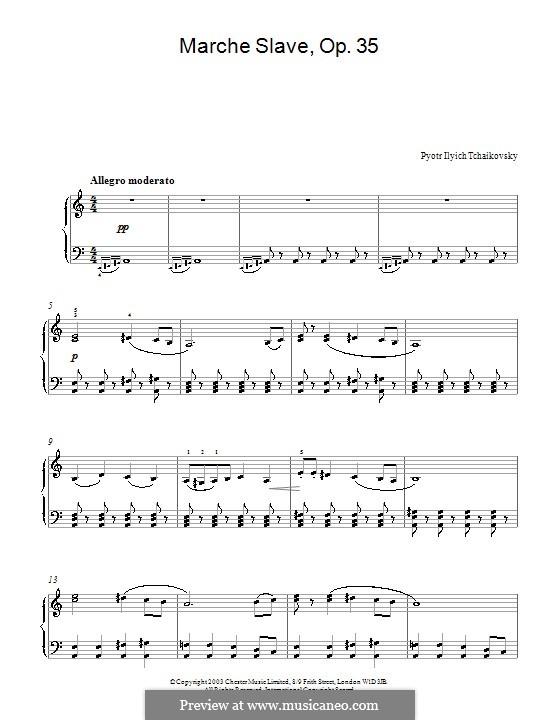 Slawischer Marsch, TH 45 Op.31: Bearbeitung für Klavier (Fragment) by Pjotr Tschaikowski