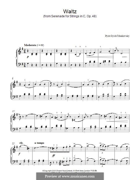 Serenade für Streichorchester, TH 48 Op.48: Teil II (Walzer). Version für Klavier by Pjotr Tschaikowski