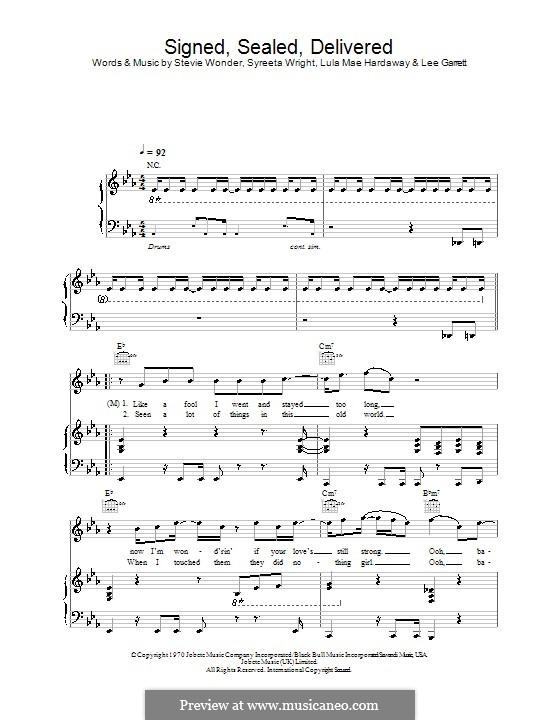 Signed, Sealed, Delivered (Blue feat. Stevie Wonder): Für Stimme und Klavier (oder Gitarre) by Lee Garrett, Lula Mae Hardaway, Stevie Wonder, Syreeta Wright