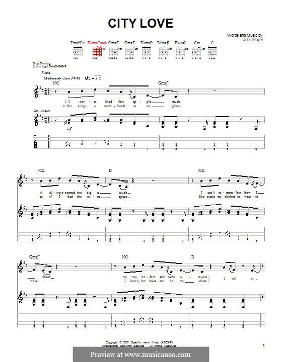 City Love: Für Gitarre (Sehr leichte Fassung) by John Mayer