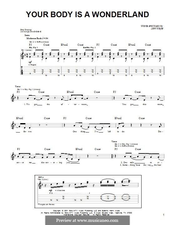 Your Body Is a Wonderland: Für Gitarre (Sehr leichte Fassung) by John Mayer