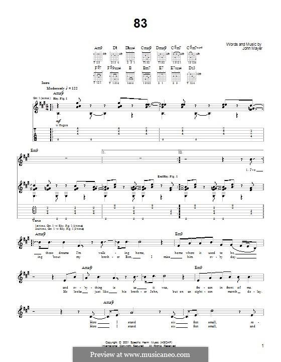 83: Für Gitarre (Sehr leichte Fassung) by John Mayer