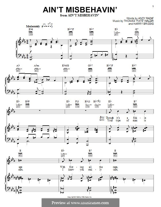 Ain't Misbehavin': Für Stimme mit Klavier oder Gitarre (Louis Armstrong) by Fats Waller, Harry Brooks
