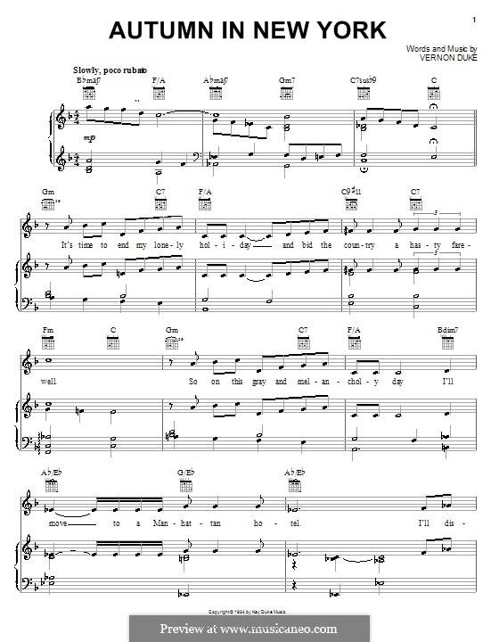 Autumn in New York: Für Stimme und Klavier oder Gitarre (Frank Sinatra) by Vernon Duke
