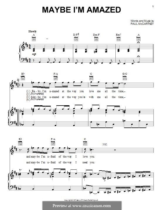 Maybe I'm Amazed: Für Stimme und Klavier (oder Gitarre) by Paul McCartney