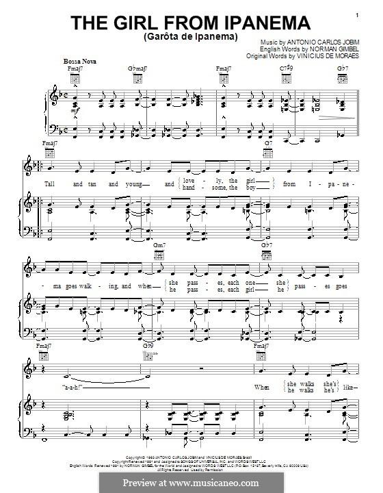 The Girl from Ipanema (Garota de Ipanema): Für Stimme und Klavier (oder Gitarre) by Antonio Carlos Jobim