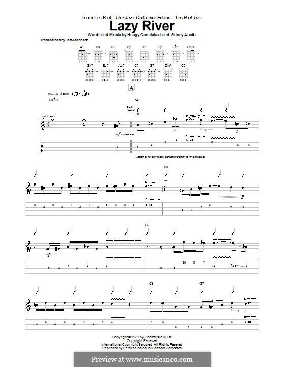 Lazy River (Bobby Darin): Für Gitarre mit Tabulatur by Hoagy Carmichael, Sidney Arodin