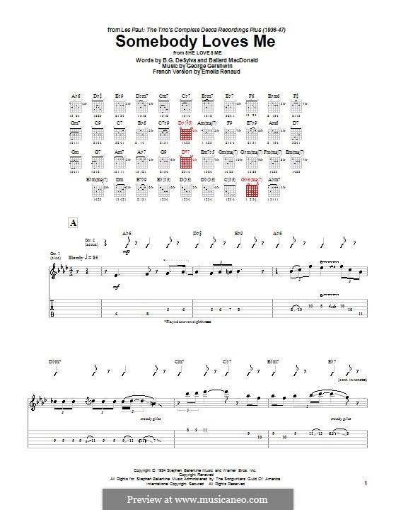 Somebody Loves Me: Für Gitarre mit Tabulatur by George Gershwin