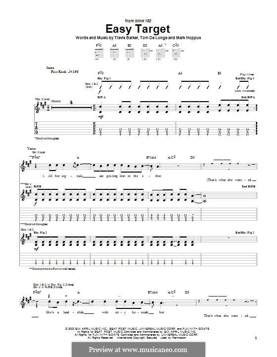 Easy Target (Blink-182): Für Gitarre by Mark Hoppus, Tom DeLonge, Travis Barker