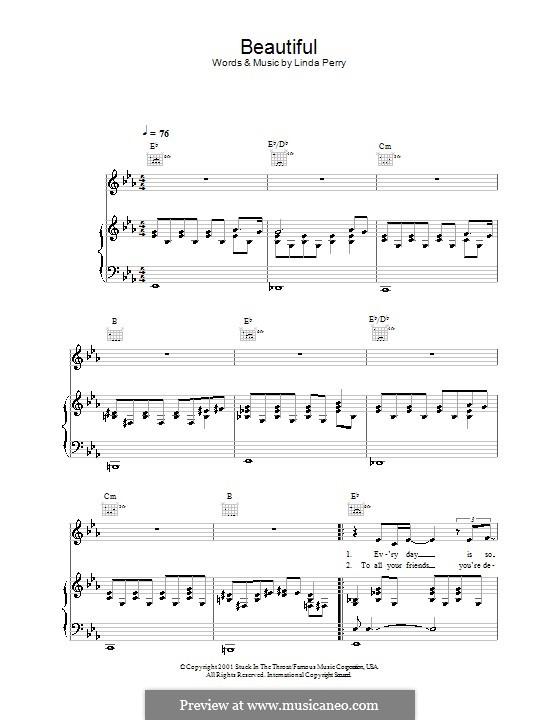 Beautifull (Christina Aguilera & Beverly McClellan): Für Stimme mit Klavier oder Gitarre (Alex Parks) by Linda Perry