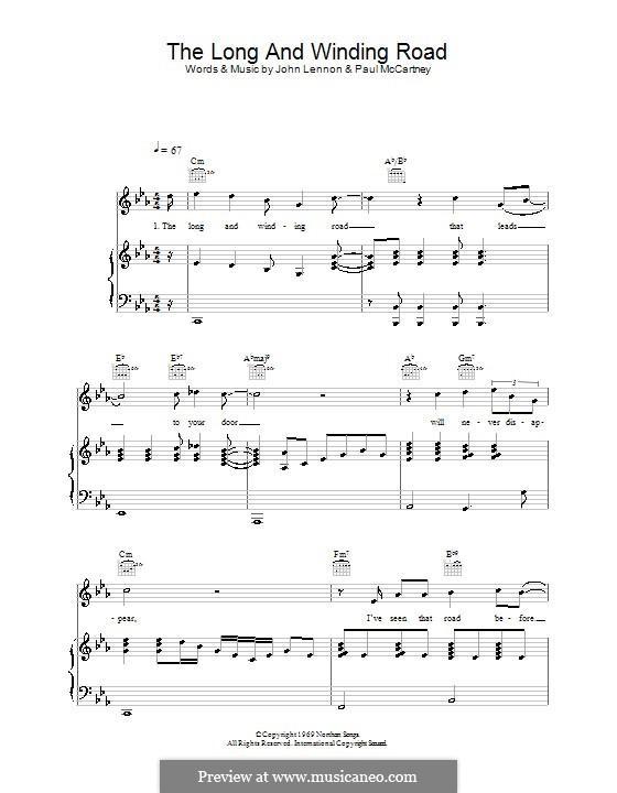 The Long and Winding Road (The Beatles): Für Stimme und Klavier (oder Gitarre) by John Lennon, Paul McCartney