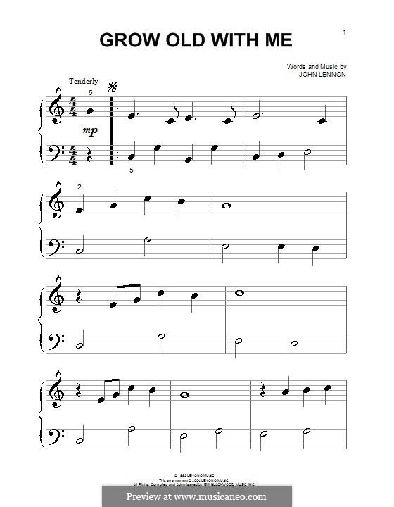 Grow Old With Me: Für Klavier (sehr leichte Fassung) by John Lennon