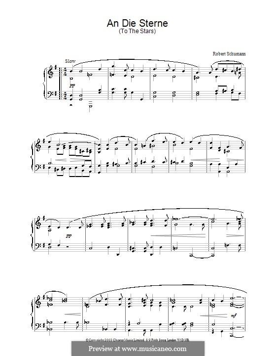 Vier Gesänge, Op.141: No.1 An die Sterne, für Klavier by Robert Schumann