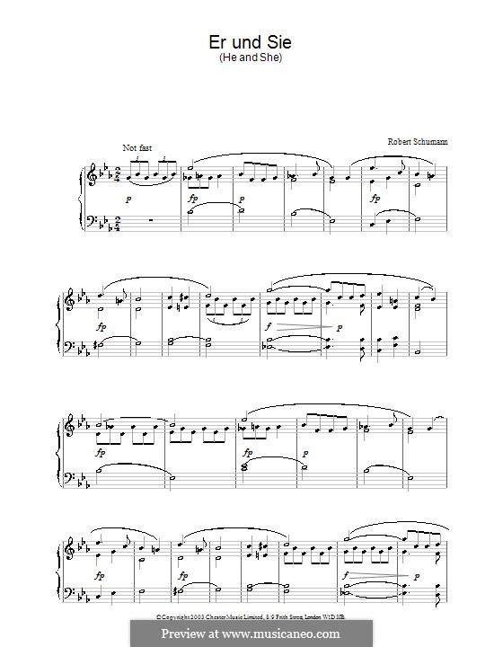 Vier Duos für Stimmen und Klavier, Op.78: Nr.2 Er und Sie, für Klavier by Robert Schumann