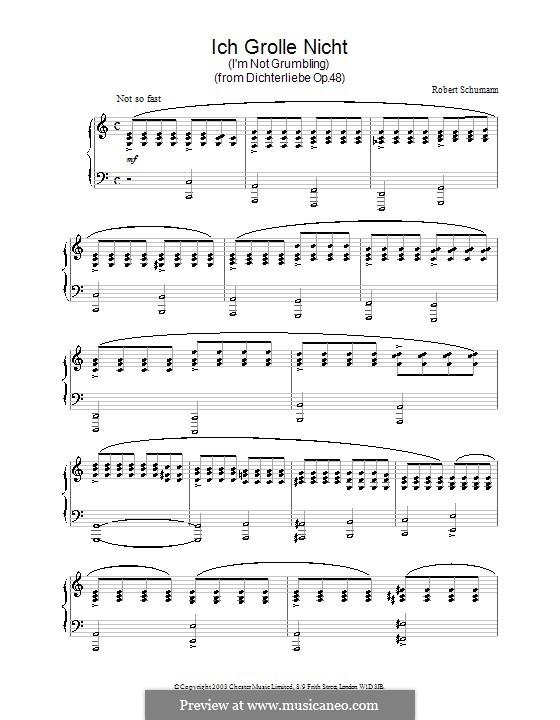 Nr.7 Ich grolle nicht: Für Klavier by Robert Schumann