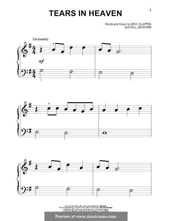 Tears in Heaven: Für Klavier (sehr leichte Fassung) by Eric Clapton, Will Jennings