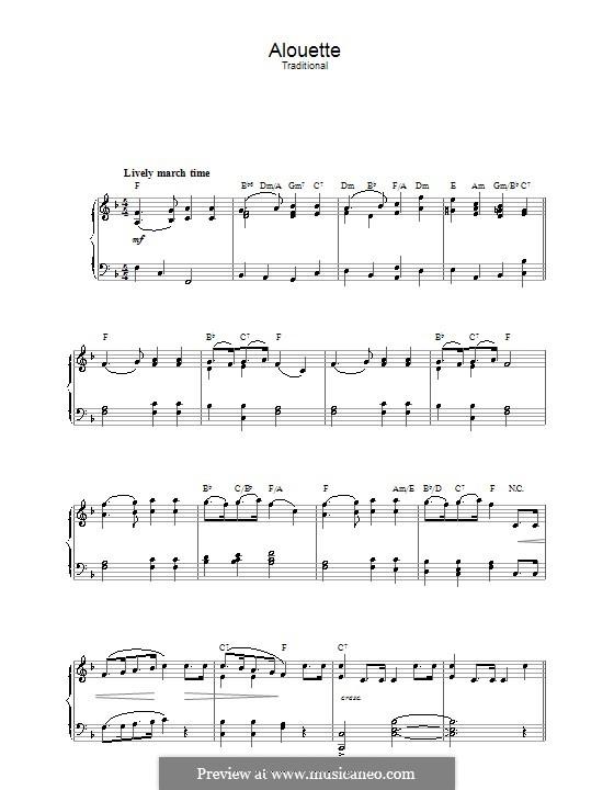 Alouette: Für Klavier by folklore