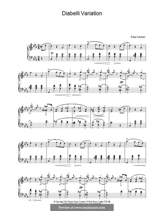 Variationen über einem Walzer von Diabelli, D.718: Für Klavier by Franz Schubert