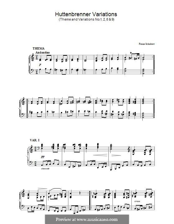 Dreizehn Variationen über das Thema von A. Hüttenbrenner, D.576: Thema und Variationen Nr.1, 2, 8, 9 by Franz Schubert