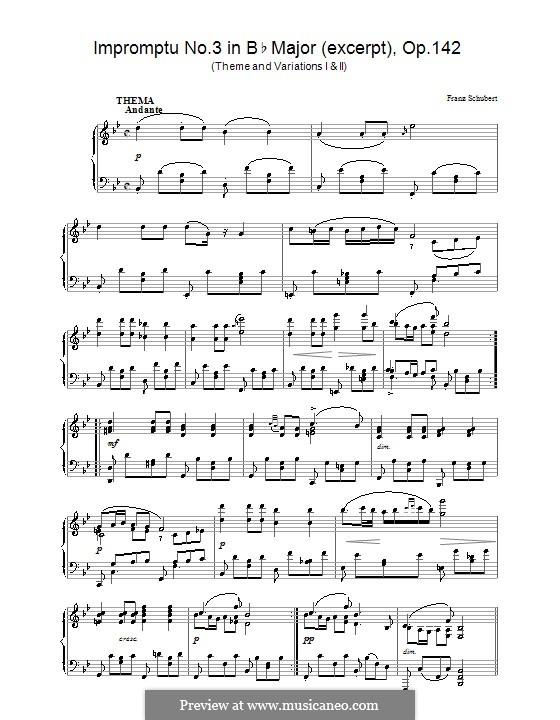 Vier Impromptus für Klavier, D.935 Op.142: Impromptu No.3 (excerpt) by Franz Schubert