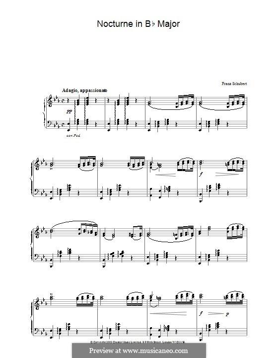Nokturne für Klavier, Violine und Cello, D.897 Op.148: Version für Klavier by Franz Schubert