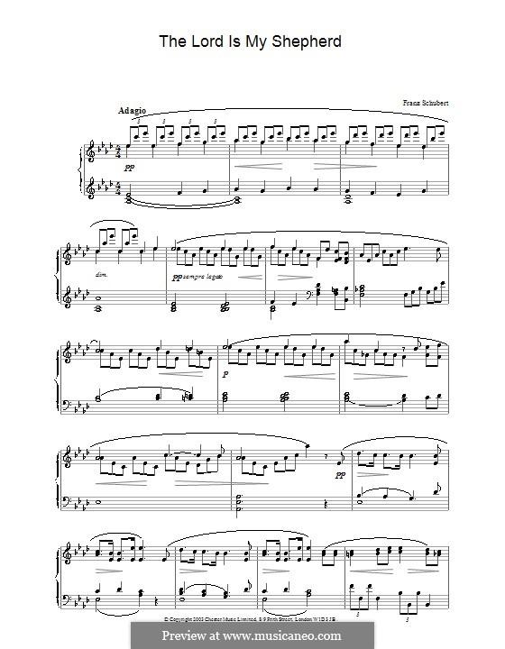 Psalm Nr.23 für Chor und Klavier 'Der Herr ist mein Hirte', D.706 Op.132: Version für Klavier by Franz Schubert