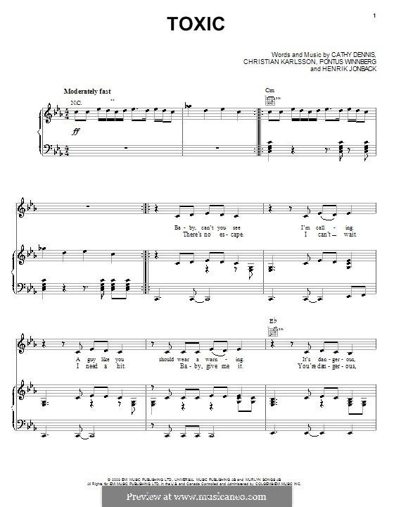 Toxic: Für Stimme mit Klavier oder Gitarre (Britney Spears) by Cathy Dennis, Christian Karlsson, Henrik Jonback, Pontus Winnberg