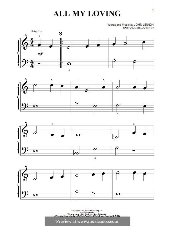 All My Loving (The Beatles): Für Klavier (sehr leichte Fassung) by John Lennon, Paul McCartney