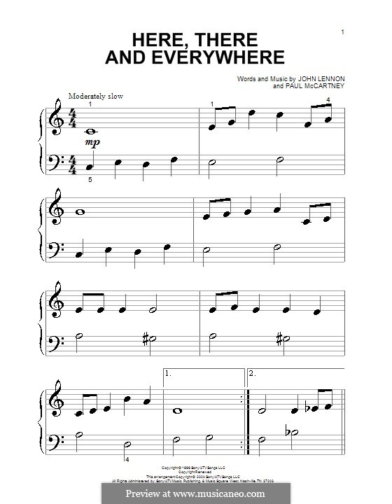 Here, There and Everywhere (The Beatles): Für Klavier (ery easy version) by John Lennon, Paul McCartney
