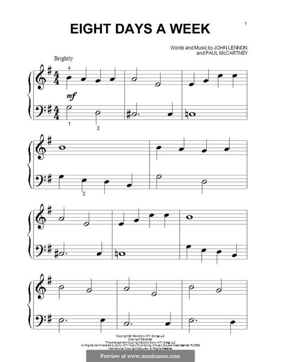 Eight Days a Week (The Beatles): Für Klavier (sehr leichte Fassung) by John Lennon, Paul McCartney