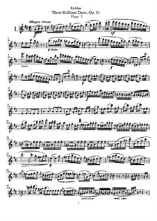 Drei brillante Duos für zwei Flöten, Op.81: Stimmen by Friedrich Kuhlau