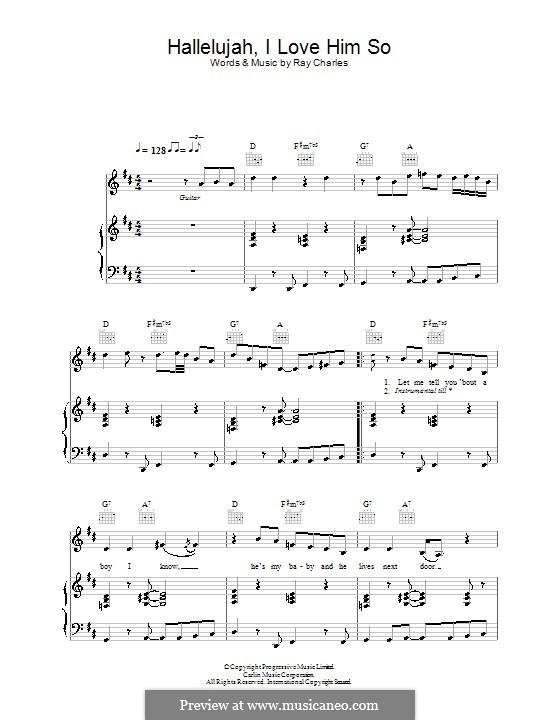 Hallelujah I Love Her So: Für Stimme und Klavier (oder Gitarre) by Ray Charles