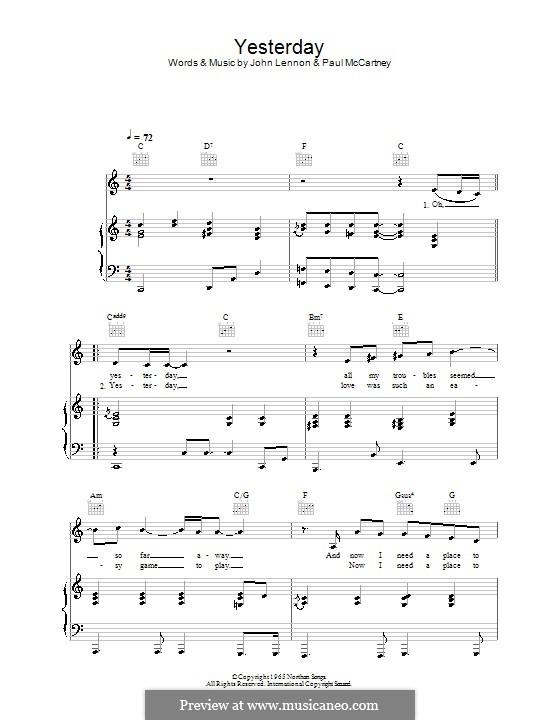 Yesterday (The Beatles): Für Stimme und Klavier oder Gitarre (C-Dur) by John Lennon, Paul McCartney