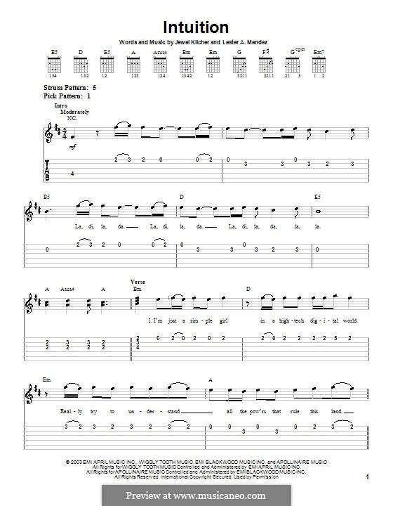 Intuition (Jewel): Für Gitarre (Sehr leichte Fassung) by Jewel Kilcher, Lester A. Mendez