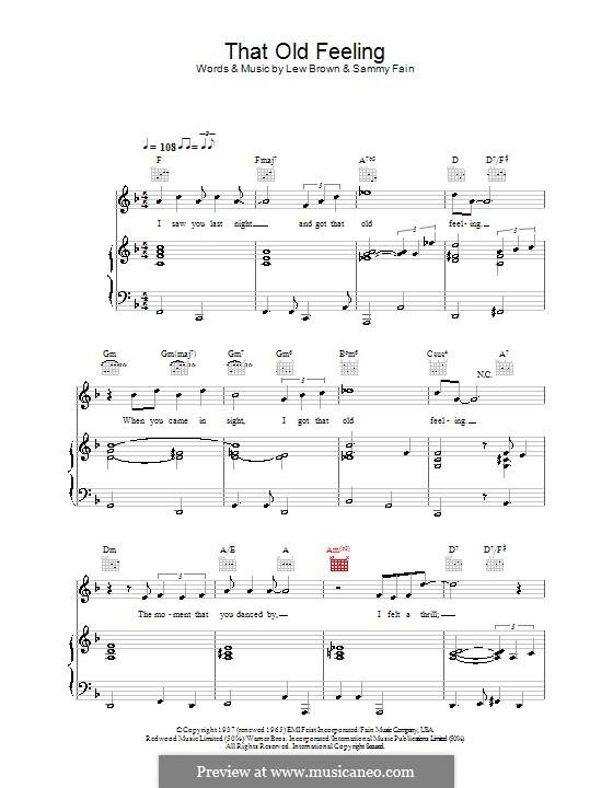 That Old Feeling: Für Stimme und Klavier (oder Gitarre) by Lew Brown, Sammy Fain