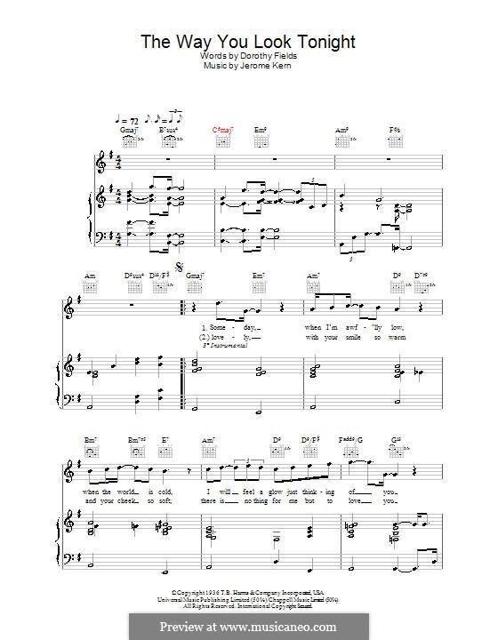 The Way You Look Tonight: Für Stimme mit Klavier oder Gitarre (Rod Stewart) by Jerome Kern