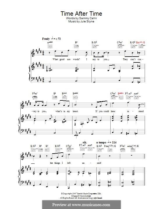 Time After Time (Frank Sinatra): Für Stimme und Klavier (oder Gitarre) by Jule Styne