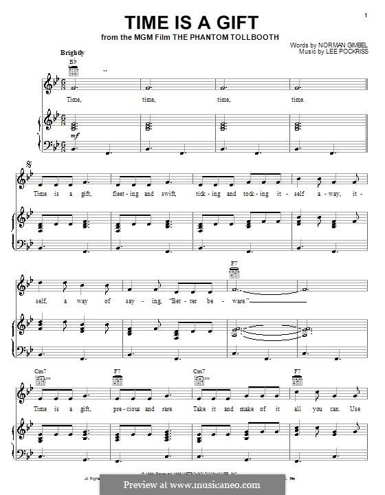 Time is a Gift (from The Phantom Tollbooth): Für Stimme und Klavier (oder Gitarre) by Lee Pockriss