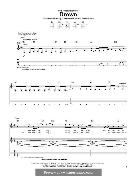 Drown (Three Days Grace): Für Gitarre mit Tabulatur by Gavin Brown