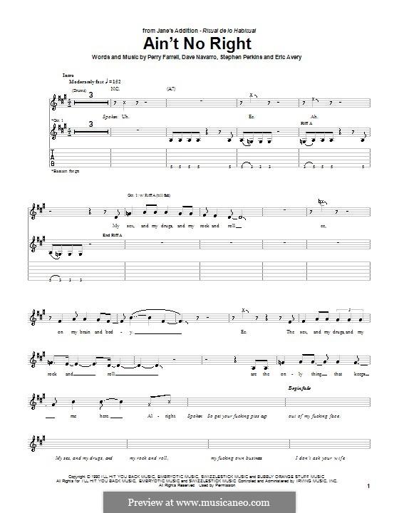 Ain't No Right (Jane's Addiction): Für Gitarre mit Tabulatur by Dave Navarro, Perry Farrell, Stephen Perkins