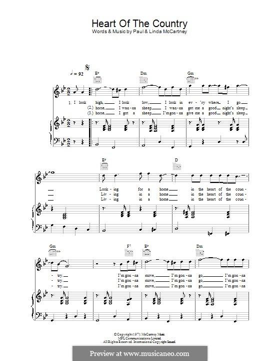 Heart of the Country: Für Stimme und Klavier (oder Gitarre) by Linda McCartney, Paul McCartney