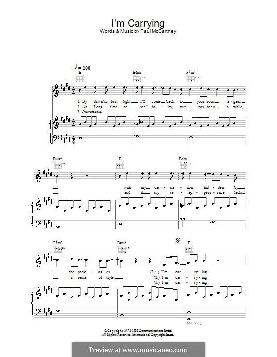 I'm Carrying (Wings): Für Stimme und Klavier (oder Gitarre) by Paul McCartney