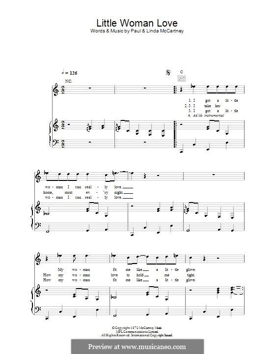 Little Woman Love (Wings): Für Stimme und Klavier (oder Gitarre) by Linda McCartney, Paul McCartney