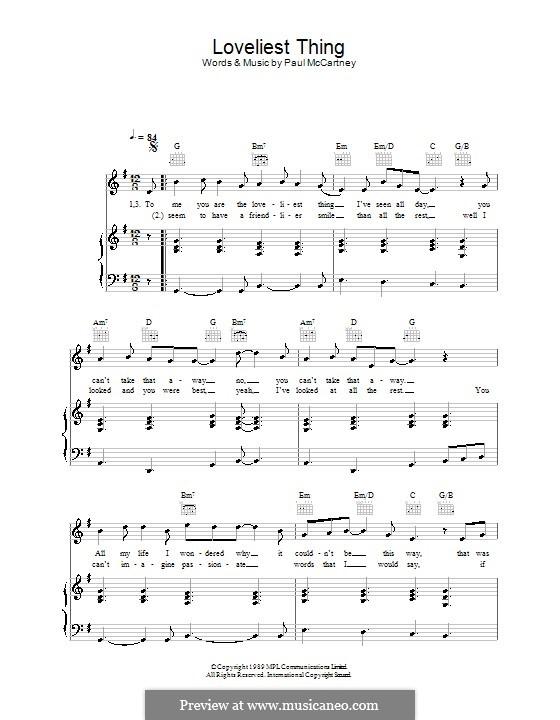 Loveliest Thing: Für Stimme und Klavier (oder Gitarre) by Paul McCartney