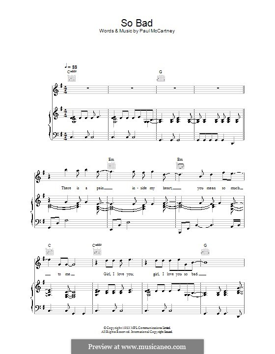So Bad: Für Stimme und Klavier (oder Gitarre) by Paul McCartney