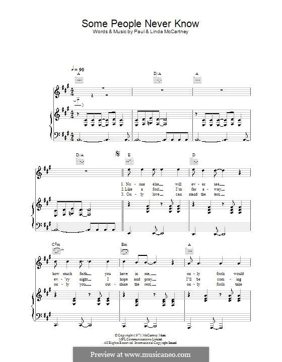 Some People Never Know (Wings): Für Stimme und Klavier (oder Gitarre) by Linda McCartney, Paul McCartney